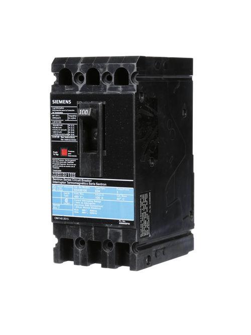 Siemens Industry ED43B100L 3-Pole 100 Amp 480 VAC 18 kA Circuit Breaker Lugs