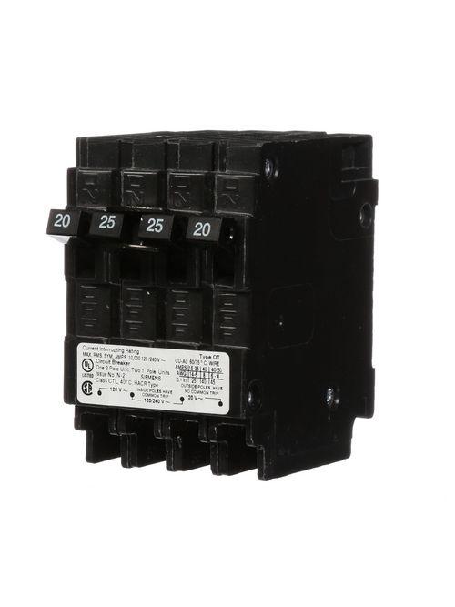 Siemens Industry Q22025CT 1/2-Pole 120/240 VAC 20/25 Amp 10 kA Plug-In Common Trip Triplex Molded Case Circuit Breaker