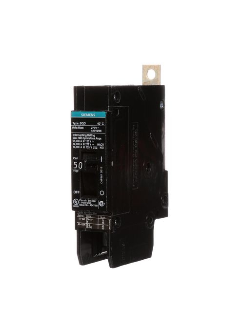Siemens Industry BQD150 1-Pole 50 Amp 277 VAC 14 kA Circuit Breaker