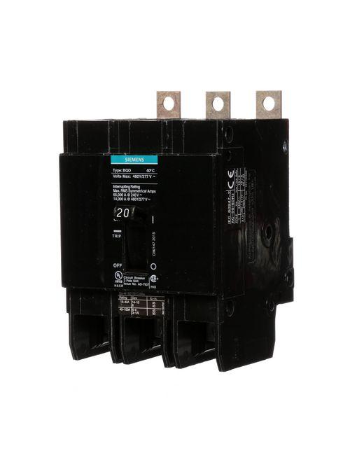 Siemens Industry BQD320 3-Pole 20 Amp 480 VAC 14 kA Molded Case Circuit Breaker