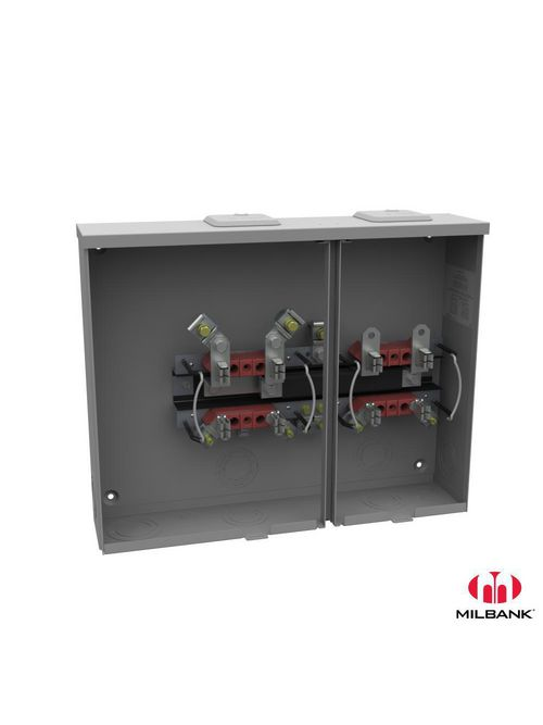 Milbank U8212-XL 300 VAC 4-Terminal 1-Phase 2-Position Ringless Overhead/Underground End Wireway with Bypass Meter Socket