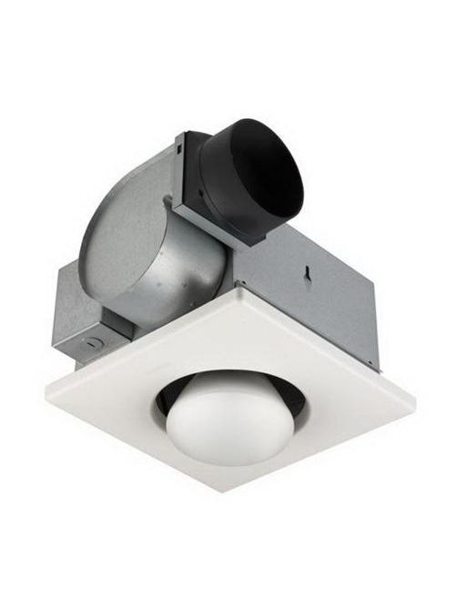 Broan 9417DN 2.5 Amp 120 Volt 70 CFM 3.5 Sones 10-1/4 Inch White Polymeric Square Grille Ventilation Fan with Lamp