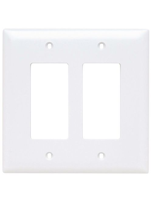 Pass & Seymour TPJ262-W 2-Gang 2-Decorator White Nylon Jumbo Unbreakable Wallplate