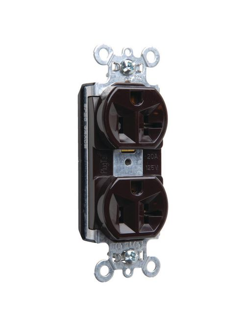 Pass & Seymour PT5362 20 Amp 125 VAC 2-Pole 3-Wire NEMA 5-20R Brown Nylon Face PVC Back Body Duplex Receptacle