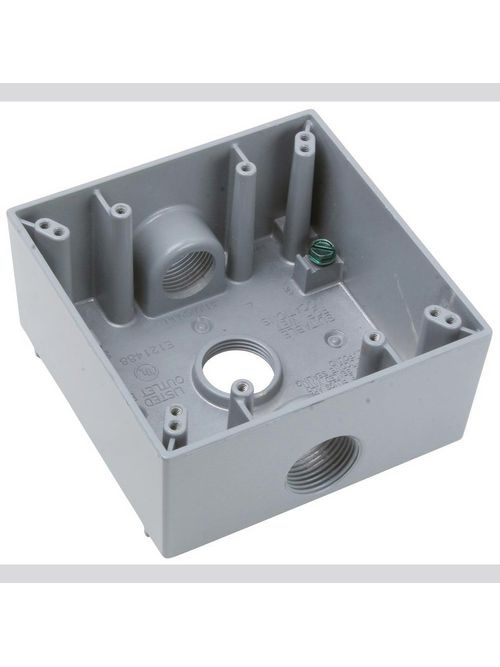 Pass & Seymour WPB332 3/4 Inch 30.5 In Gray Die-Cast Aluminum 2-Gang 3-Hole Surface Mounting Weatherproof Box