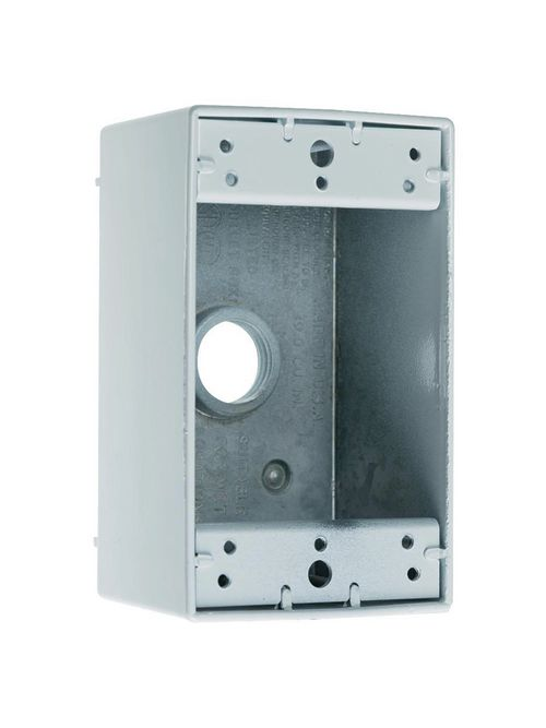 Pass & Seymour WPB35 3/4 Inch 17 In Gray Die-Cast Aluminum 1-Gang 5-Hole Surface Mounting Weatherproof Box