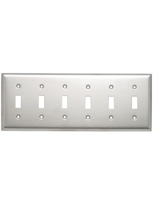 Pass & Seymour SS6 6-Gang 6-Toggle Switch Smooth Brushed Stainless Steel Standard Wallplate