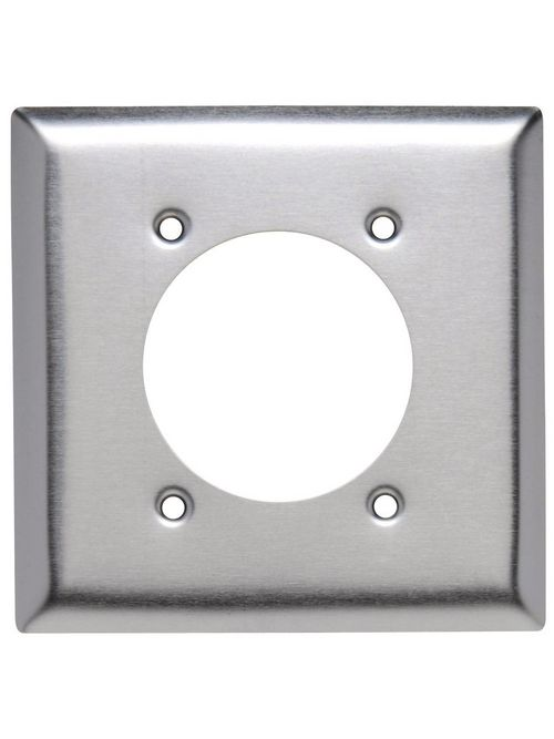 Pass & Seymour SS716 2-Gang 2-Power Outlet Receptacle Smooth Brushed Stainless Steel Standard Wallplate