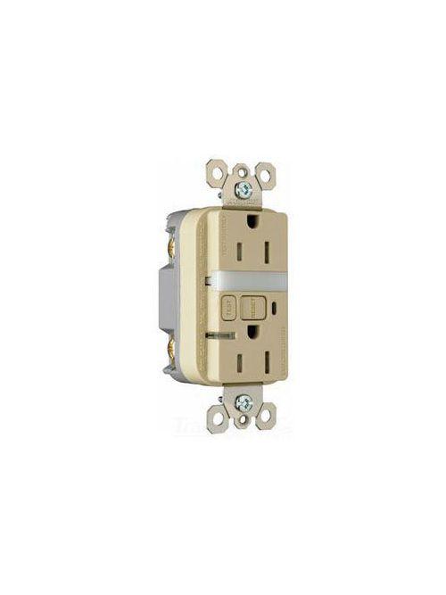 Pass & Seymour 1595-NTLTRICC4 15 Amp 125 VAC 2-Pole 3-Wire NEMA 5-15R Ivory Thermoplastic Night Light/GFCI Receptacle