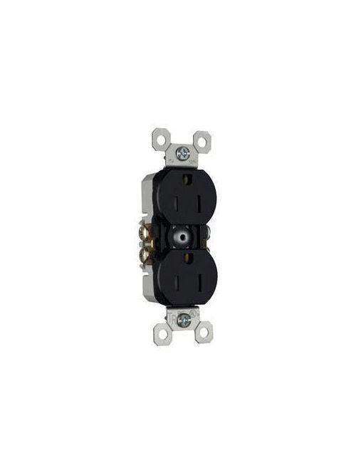 Pass & Seymour 3232-TRBK 15 Amp 125 VAC 2-Pole 3-Wire NEMA 5-15R Tamper Resistant Duplex Receptacle, Black