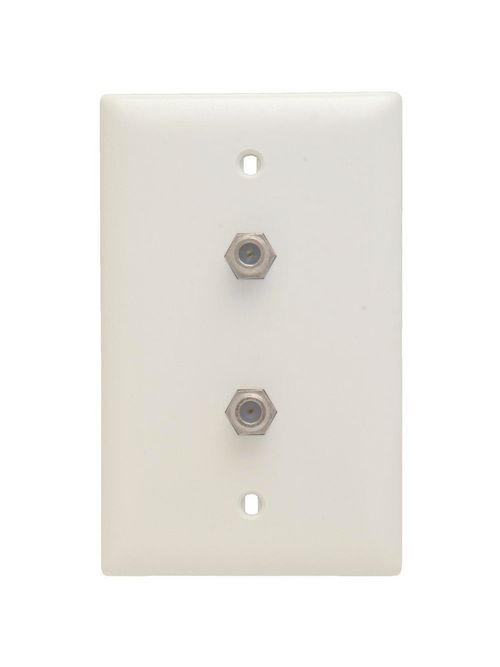 On-Q TPCATV2-W 1-Gang 2-F Coaxial Connector White Nickel Plated Steel Standard Communication Wallplate