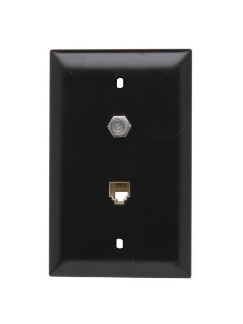 On-Q TPTELTV 1-Gang 1-F-Coaxial Connector 1-RJ11 Modular Jack Brown Thermoplastic Communication Wallplate