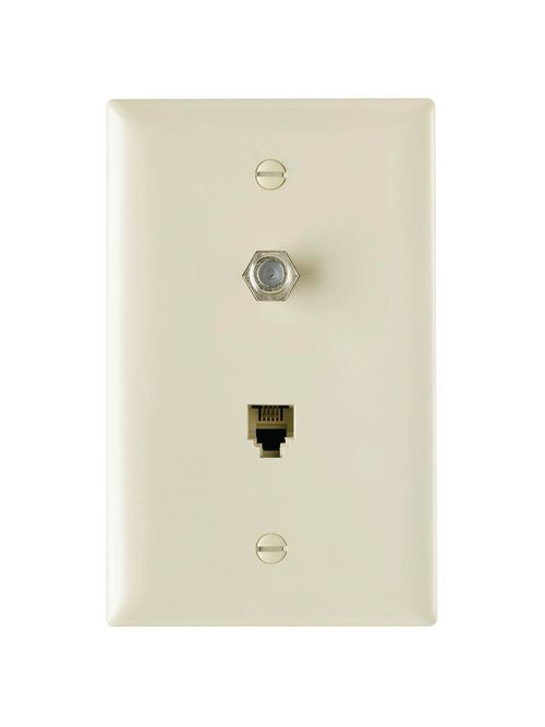 On-Q TPTELTV-I 1-Gang 1-F-Coaxial Connector 1-RJ11 Modular Jack Ivory Thermoplastic Communication Wallplate