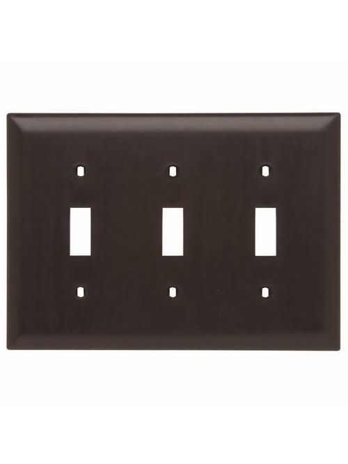 Pass & Seymour TP3 3-Gang 3-Toggle Switch Brown Nylon Standard Unbreakable Wallplate