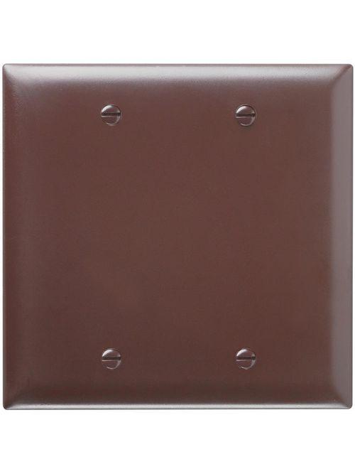 Pass & Seymour TP23 2-Gang Blank Brown Nylon Standard Unbreakable Wallplate