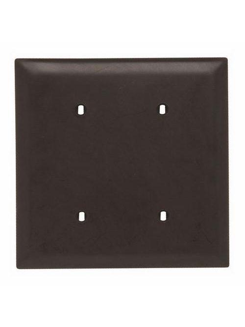 Pass & Seymour TP24 2-Gang Blank Brown Nylon Standard Unbreakable Wallplate