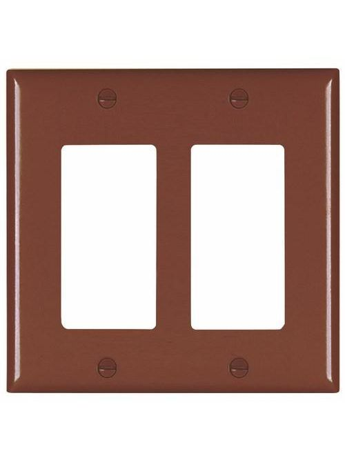 Wattstopper TP262 2-Gang 2-Decorator Brown Nylon Standard Unbreakable Wallplate