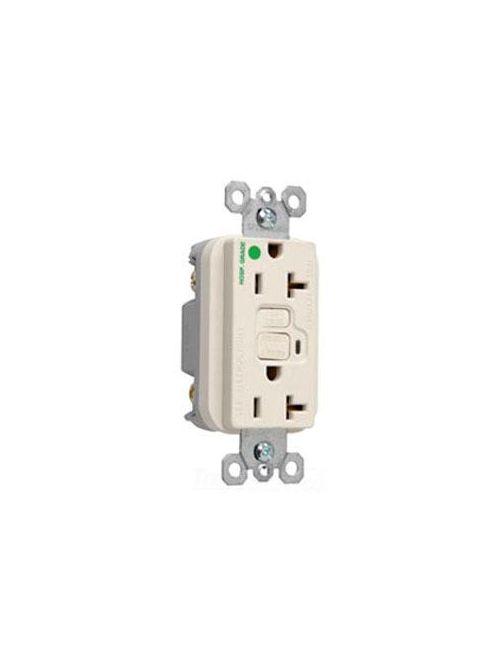 Pass & Seymour 2095-HGLA 20 Amp 125 VAC 2-Pole 3-Wire NEMA 5-20R Light Almond Thermoplastic Duplex Decorator GFCI Receptacle