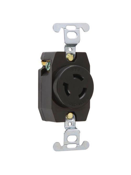 Pass & Seymour 4560 15 Amp 250 VAC 2-Pole 3-Wire NEMA L6-15R Nylon Locking Single Receptacle