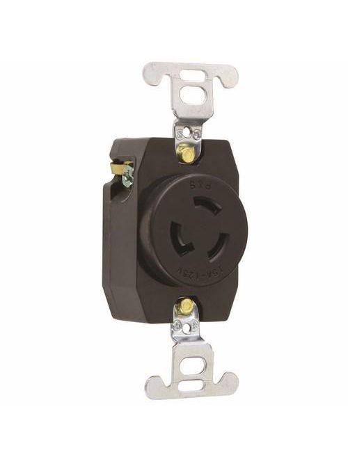 Pass & Seymour 4710 15 Amp 125 VAC 2-Pole 3-Wire NEMA L5-15R Nylon Locking Single Receptacle