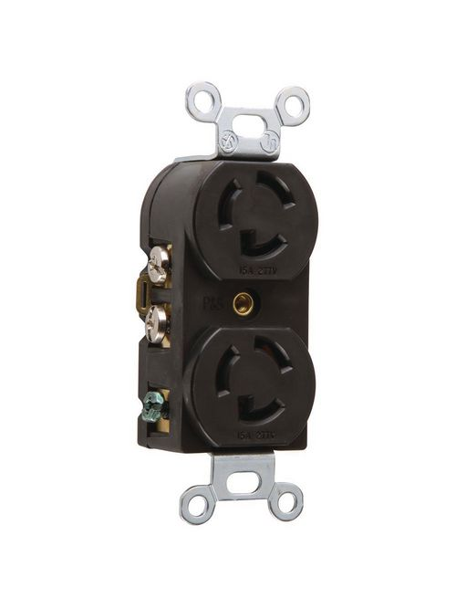 Pass & Seymour 4750 15 Amp 277 VAC 2-Pole 3-Wire NEMA L7-15R Nylon Locking Duplex Receptacle