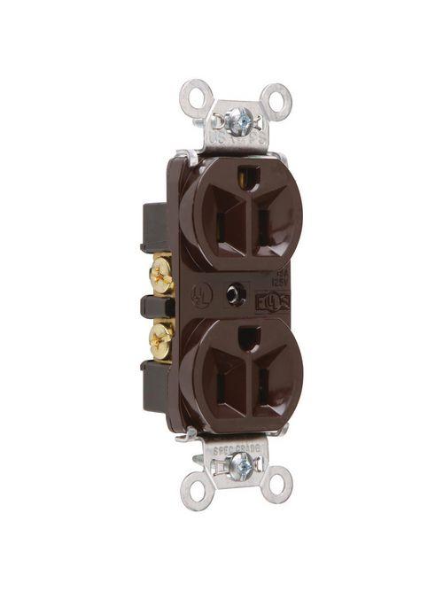Pass & Seymour 5262 15 Amp 125 VAC 2-Pole 3-Wire NEMA 5-15R Brown Nylon Extra Heavy Duty Straight Blade Duplex Receptacle