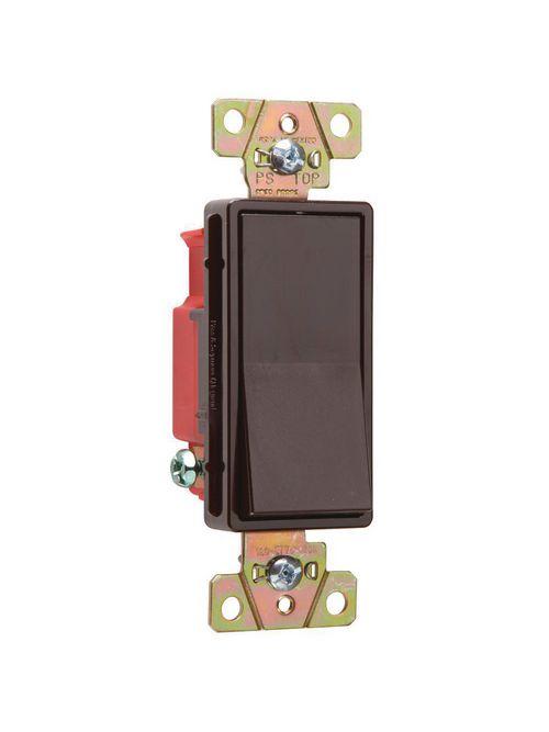 Pass & Seymour 2621 20 Amp 120/277 VAC 1-Pole Brown Polycarbonate Screw Mounting Rocker Decorator Switch