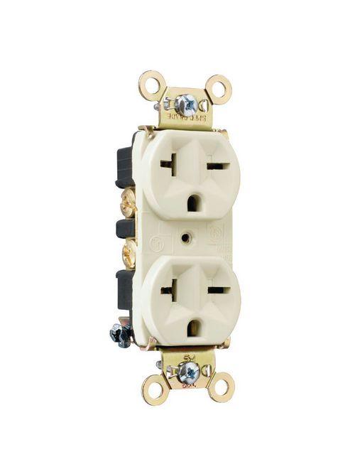 Pass & Seymour 5862-I 20 Amp 250 VAC 2-Pole 3-Wire NEMA 6-20R Ivory Nylon Face PVC Back Body Duplex Receptacle