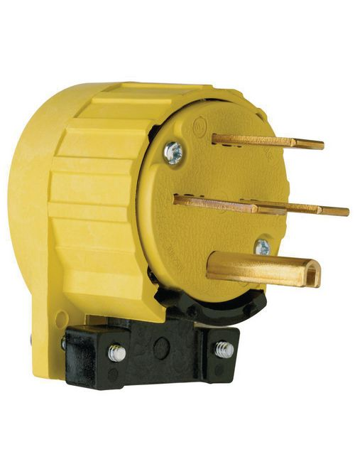 Pass & Seymour 5741-AN 30 Amp 250 VAC 3-Phase 3-Pole 4-Wire NEMA 15-30P Yellow Angled Straight Blade Power Plug