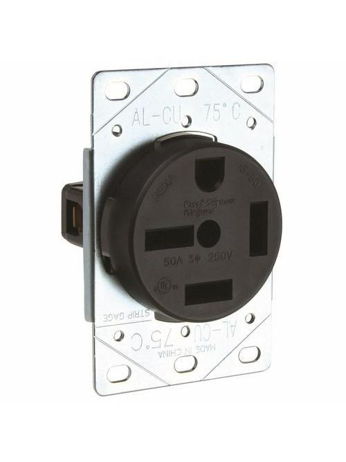 Pass & Seymour 5750 50 Amp 250 VAC 3-Phase 3-Pole 4-Wire NEMA 15-50R Flush Mount Straight Blade Power Receptacle