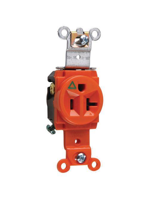 Pass & Seymour IG5361 20 Amp 125 VAC 2-Pole 3-Wire NEMA 5-20R Orange Nylon Face Duplex Isolated Ground Receptacle