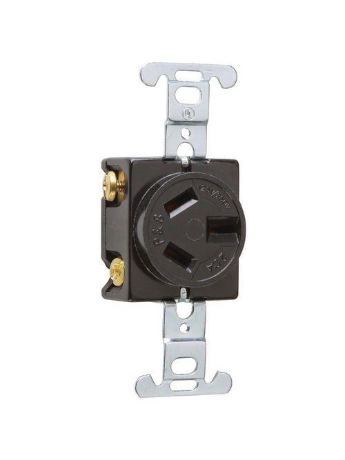 Pass & Seymour 6810 20 Amp 125/250 VAC 3-Pole 3-Wire NEMA 10-20R Black Straight Blade Single Receptacle