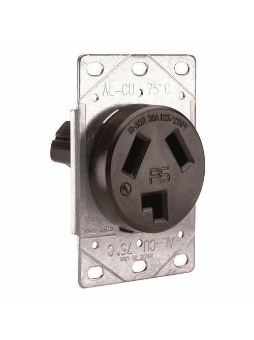 Pass & Seymour 3860 30 Amp 125/250 VAC 3-Pole 3-Wire NEMA 10-30R Single Dryer Straight Blade Power Receptacle