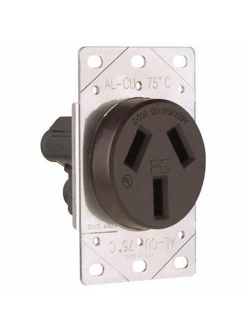 Pass & Seymour 3890 50 Amp 125/250 VAC 3-Pole 3-Wire NEMA 10-50R Single Range Straight Blade Power Receptacle
