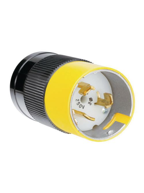 Pass & Seymour CS8365 50 Amp 250 VAC 3 Phase 3-Pole 4-Wire Nylon Straight Locking Plug