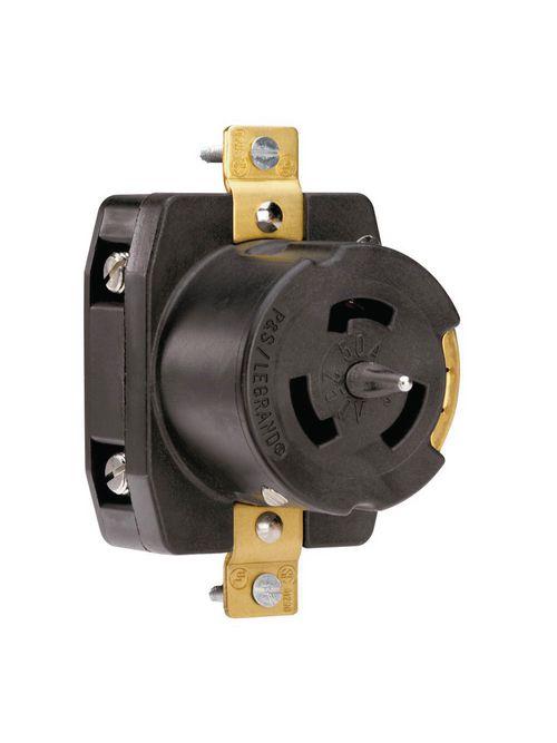 Pass & Seymour CS8369 50 Amp 250 VAC 3-Phase 3-Pole 4-Wire Non-NEMA Nylon Locking Receptacle