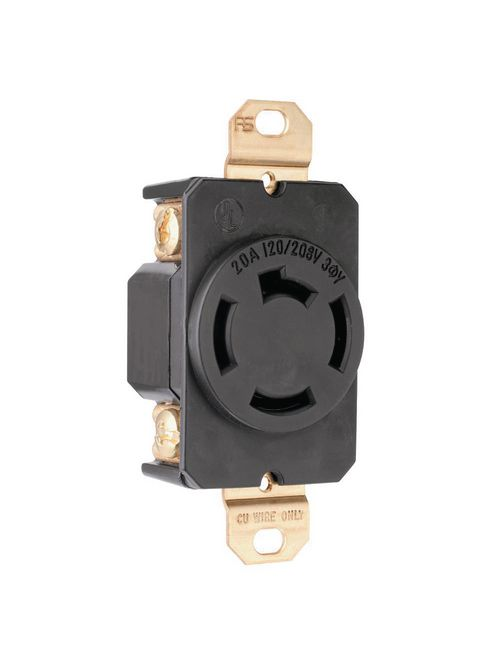 Pass & Seymour 7410 20 Amp 120/208 VAC 3-Phase 3-Pole 4-Wire Non-NEMA Nylon Locking Single Receptacle