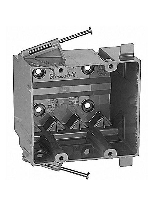 Carlon SN-236-V 2-Gang PVC New Work Outlet Box w/ Nails & V-Clamp, 36 cu.in.