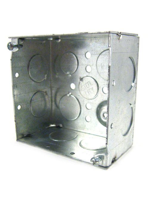 "Steel City 52171-3/4 4"" Steel Square Box, 2-1/8"" Deep, 30.3 cu.in. w/ 3/4"" & 1/2"" Eccentric KOs and Ground Bump"
