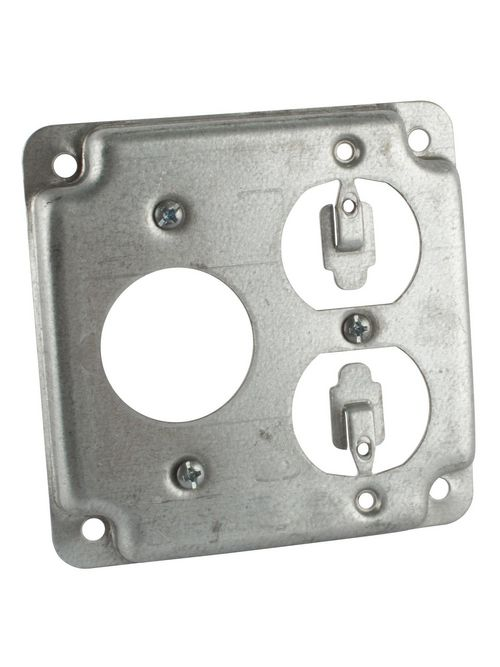 Steel City RS-3 4 Inch Square Steel Cover for 1 Single Receptacle and 1 Duplex Receptacle