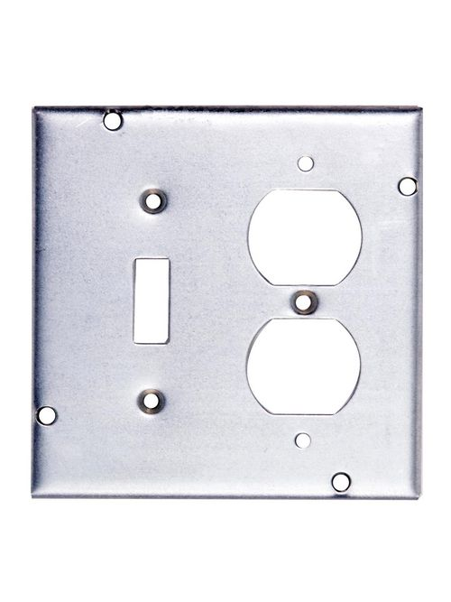 Steel City RSL-2 4-11/16 Square 1 Toggle Switch and 1 Duplex Receptacle Steel Cover