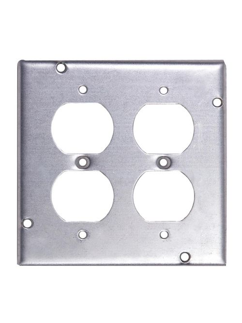 Steel City RSL-8 4-11/16 Square 2 Duplex Receptacles Steel Cover