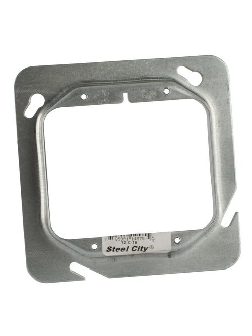 "Steel City 72C18 4-11/16"" Steel Square Box Device Cover, 3/4"" Raised, 9 cu.in."