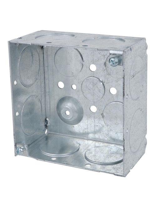 "Steel City 52171-1 4"" Steel Square Box, 2-1/8"" Deep, 30.3 cu.in. w/ 1"", 3/4"" & 1/2"" Eccentric KOs and Ground Bump"