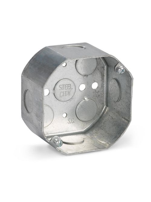 Steel City 541711/2-25 4 Inch Diameter 2.125 Inch Depth 22.5cu.in Steel Octagon Box with 1/2 Inch Knockout