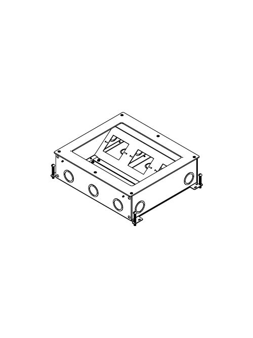 Wiremold RFB9 14-3/4 x 12-5/8 x 4-1/8 Inch 9-Gang Steel Rectangular Recessed Floor Box
