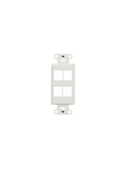 On-Q WP3414-WH 1.65 x 0.28 x 4.19 Inch 4-Port White Plastic Wall Box Mounting Non-Flexible Outlet Strap