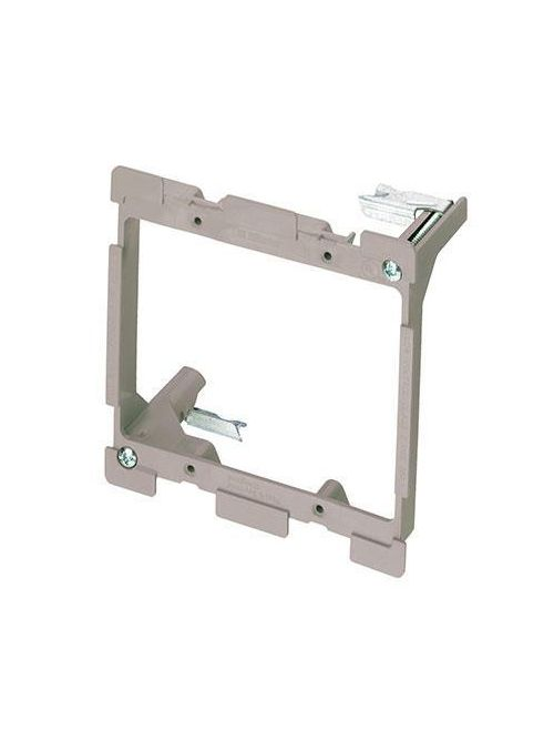 On-Q AC1010-02 3.75 Inch 2-Gang Gray Smooth Flame Retardant Plastic In-Wall Mount Low Voltage Retrofit Bracket