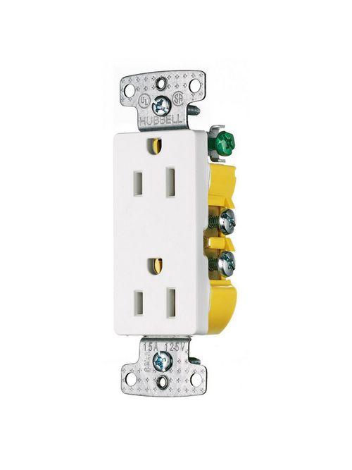 Hubbell Wiring Devices RRD15W 15 Amp 125 Volt 2-Pole 3-Wire NEMA 5-15R White Decorator Duplex Receptacle