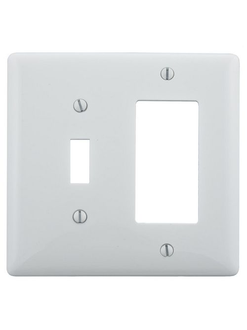 Hubbell Wiring Devices NP126W 2-Gang White Nylon Standard 1-Toggle 1-Decorator Switch Combination Wallplate